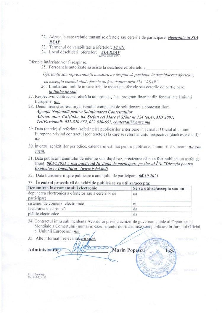 Achiziție - invitație de participare (servicii de demontare și instalare a aparatelor de aer condiționat) (repetat)